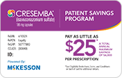 Patient savings card